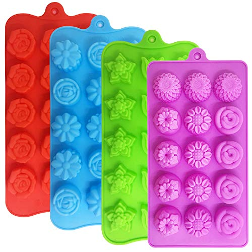 4 PACK Flower Shape Chocolate Candy Molds Set