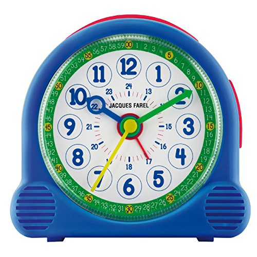 JACQUES FAREL Happy Learning Kinder-Wecker Junge Blau ohne Ticken Snooze Analog Quarz ACL 04