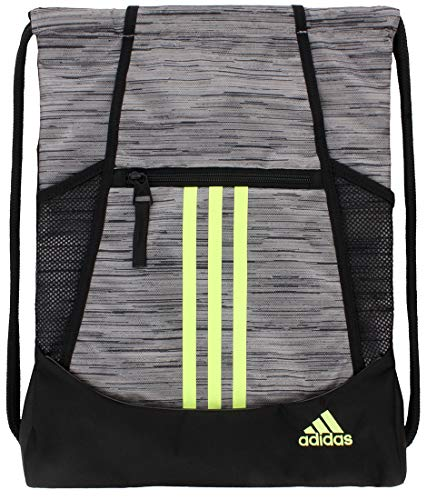 adidas Alliance II Sackpack (One Size, Looper Grey Two/Hi-Res Yellow/Black)