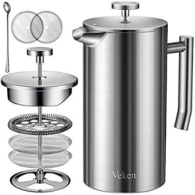 Veken French Press Double-Wall 18/10 Stainless Steel Coffee & Tea Maker, Multi-Screen System, 2 Extra Filters Included, Rust-Free, Dishwasher Safe, 50oz, Silver