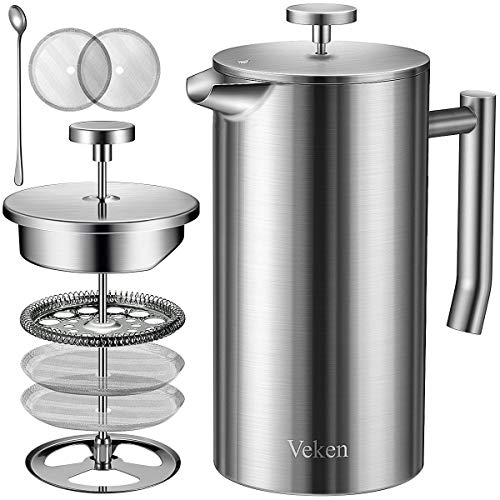 Veken French Press Double-Wall 304 Stainless Steel Coffee & Tea Maker, Multi-Screen System, 2 Extra Filters Included, Rust-Free, Dishwasher Safe, 50oz, Silver