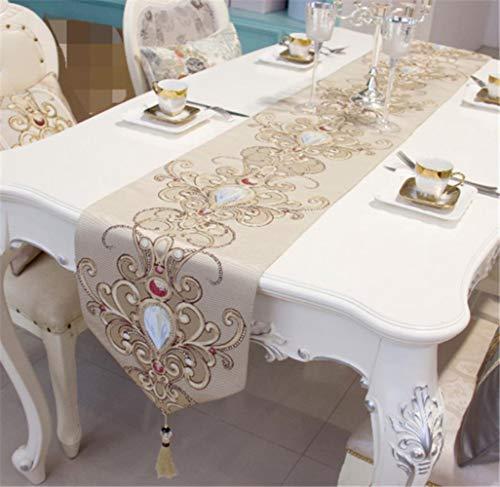 Coner moderne jacquard damast bloemen tafellopers en dressoirsjaals met kwastjes, beige, 33x250cm