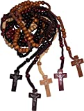 Five Rosaries : Black, Tan, Ivory, Brown and Maroon Colored Wooden Beads Rosary Necklaces with Jesus Imprint Cross