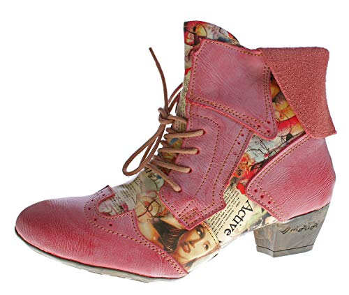 TMA Damen Stiefeletten Echtleder Comfort Boots Leder Halb Schuhe TMA 6188 Rot Gr. 40