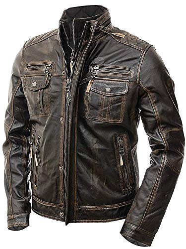 Slim Fit Vintage Classic Cafe Racer Motorrad Biker Lederjacke Gr. Medium, Brown - Double Zipper Real Leather Jacket