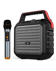 SHIDU Altavoces Bluetooth con micrófono de mano Sistema de PA portátil Máquina de karaoke Sistema 30W PA con micrófono inalámbrico radio USB SD FM incorporada para el hogar, reunión, deshierbe,fiesta