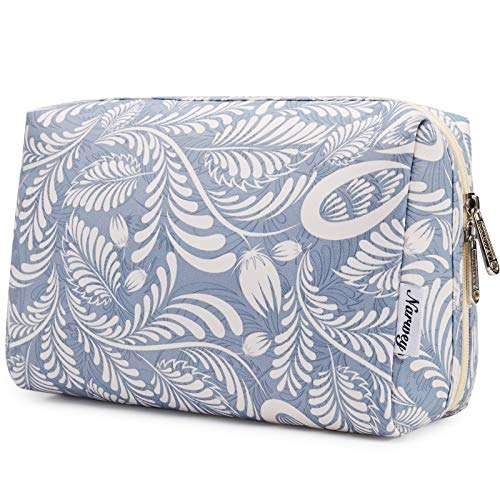 Large Makeup Bag Zipper Pouch Travel Cosmetic Organizer for Women and Girls (Blue Leaf, Large)