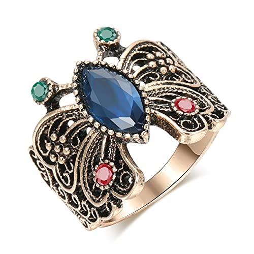Tiny Anillo de Mariposa Caliente para Mujer, Regalo de Cristal de Resina Azul Dorado Antiguo, joyería de Boda Vintage