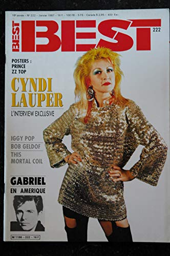 BEST 222 JANVIER 1987 COVER CYNDI LAUPER L\'INTERVIEW EXCLUSIVE IGGY POP + POSTER PRINCE ZZ TOP 1987