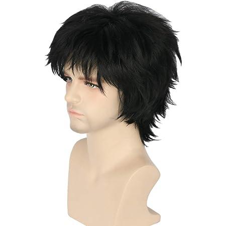 Topcosplay Mens Anime Kuroo Tetsurou Cosplay Wig Short Balck Wigs