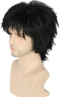 Topcosplay Women or Men Wigs Balck Short with Bangs Layered Fluffy Cosplay Halloween Costume Wigs