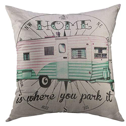 Couch case 20 X 20 Inch Pink Camper Vintage Trailer is Where You Park Glamping Christmas Day throw pillows two Ultra Soft for women teen-girls toddler-girls unisex-toddler unisex-adult baby-girls