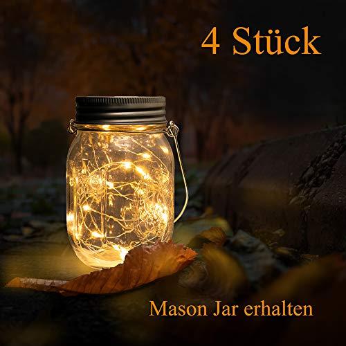 Beslands Solar Mason Jar Light Luce bianca calda 20 LED lampada natalizia illuminazione decorativa per vetro Mason Jar lampada da appendere, lampada da giardino, patio 20 Led 4 Pack