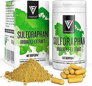 Vitalfuel® Sulphoraphan Kapseln hochdosiert   Brokkoli Extrakt & Brokkolisprossen - mit Bioperine® & bioaktivem Vitamin B12   VEGAN   60 Stück Sulforaphan Kapseln