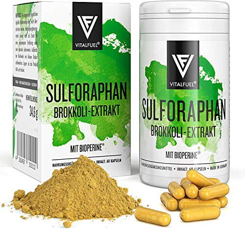 Vitalfuel® Sulphoraphan Kapseln hochdosiert | Brokkoli Extrakt & Brokkolisprossen - mit Bioperine® & bioaktivem Vitamin B12 | VEGAN | 60 Stück Sulforaphan Kapseln