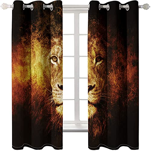 SHJIA 3D Animal Digital Printing Living Room Curtains Easy To Install Perforation-Free Bedroom Shading Curtain Thermal Insulation Sunscreen Bay Window