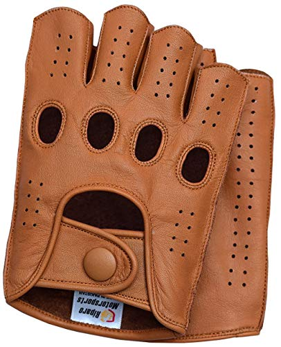 Riparo Mens Leather Reverse Stitched Fingerless Half-Finger Driving Motorcycle Gloves (Small, Cognac)
