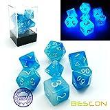 Bescon Gemini, Juego de 7 Dados Poliédricos Brillantes, en Formas de Piedras Congeladas, D4 D6 D8 D10 D12 D20 D%, Caja de Embalaje de Ladrillo