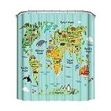 Saadiya Fashion Badezimmer Weltkarte Duschvorhang Wasserdicht Stoff Dekorative Duschvorhang Set mit 12 Haken, 183 x 183 cm