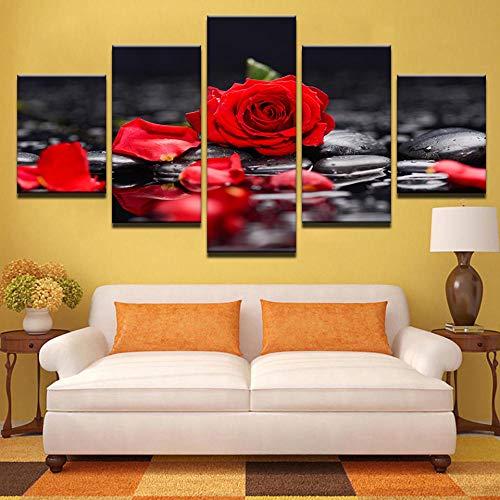 SJYHNB Lienzo Mural Arte Fotos Sala de Estar decoración Rosas rojas Pinturas HD Impresiones Poster 5 Piezas 150 x 80cm