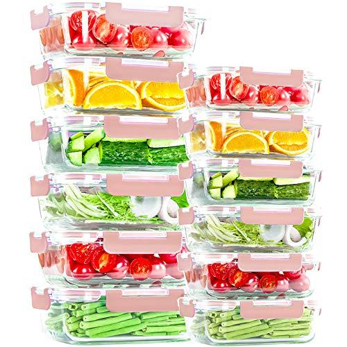 24 Stück Glas-Frischhaltedosen mit Deckel, luftdichte Glas-Lunch-Behälter, kein Auslaufen, Mahlzeiten-Vorbereitungsbehälter, Mikrowelle, Ofen, Gefrierschrank und Spülmaschine, Pink