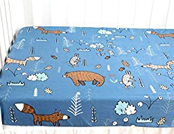 woodland bears foxes blue background sheet