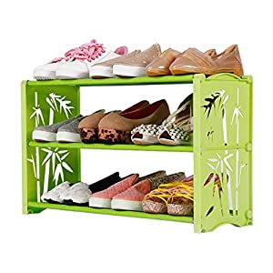 Zapateros Rack De Zapatos Rack De Zapatos Espacio Estrecho Plástico Extensible Baño De Las Habitaciones Dormitorio Niño Zapato Rack Tacones Altos (Color : Green, Size : A)