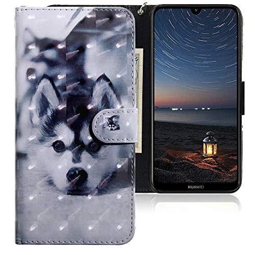CLM-Tech Hülle kompatibel mit Huawei Y7 2019 - Tasche aus Kunstleder - Klapphülle mit Ständer & Kartenfächern, H& schwarz weiß