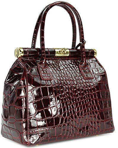 BELLI The Bag L Leder Henkeltasche Handtasche Damen Ledertasche Umhängetasche in Bordeaux Kroko Lack - 29x24x16 cm (B x H x T)