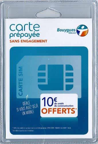 CARTE SIM BOUYGUES - CARTE SIM PREPAYEE SANS ENGAGEMENT BOUYGUES - 10 EUROS OFFERTS