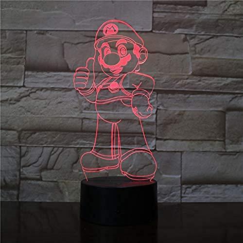 3D Night Light 7 colores que cambian la lámpara de escritorio táctil para niños cumpleaños regalos de Navidad
