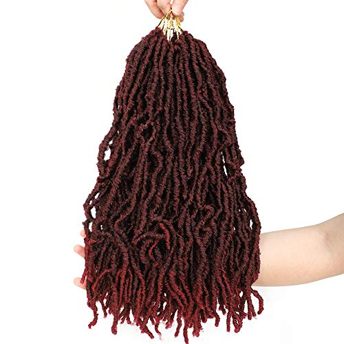 "Nu Faux Locs 6 Packs Goddess Curly Wavy Twist Crochet synthetic Braiding Hair Extensions Dreads Crochet Hair Dreadlocks 18 inches (18"", 6Pcs-MBUG)"