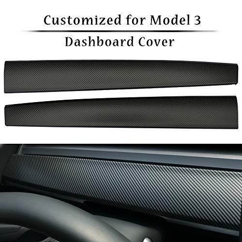 topfit Model Y Model 3 Zubehör Carbon Armaturenbrett Wrap Kit ABS Dashboard Panel Innenausstattung Abdeckung Verkleidung Schutz Folie (Carbon Fiber)