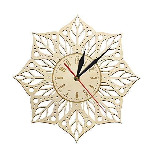 Mandala Flor de Loto Yoga Arte de Pared rústico Reloj de Pared de Madera Geometría Sagrada Reloj de Pared de Yoga Decoración del hogar Regalo de Yoga Interior para Ella