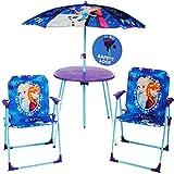 alles-meine.de GmbH 4 TLG. Set: Sitzgruppe - Tisch + 2 Kinderstühle + Sonnenschirm / höhenverstellbar -  Disney Frozen - die Eiskönigin  - für Kinder - Campingstuhl - Klappstüh..