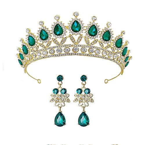 LQXZJ Corona Novia de la Novia del Rhinestone Tiara Princesa for Las Mujeres Prom Corona de la Reina del Desfile de Novia de la Boda-Corona Accesorios Hechos a Mano del Pelo de Rose Gold Crown