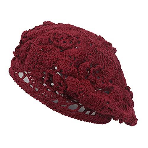 ZLYC Sombrero de algodón de las mujeres Slouchy Crochet Boina hecha a mano con recorte floral Beanie Hat - rojo - Talla única
