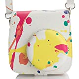 Woodmin Compatible Groovy PU Leather Camera Case with Shoulder Strap for Fujifilm Instax Mini 9 8 8+ Camera (Watercolor)