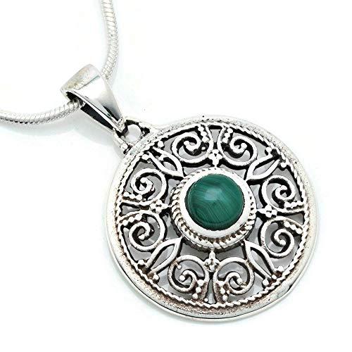 Kette mit Malachit Halskette Kettenanhänger 925 Silber grün (141-10 02), Kettenlänge:45 cm