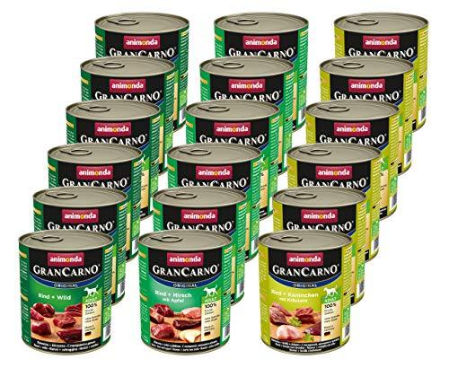 Animonda Gran Carno Hundefutter, Nassfutter für erwachsene Hunde, verschiedene Sorten, Mix mit Wild, 3 x 6 x 800 g