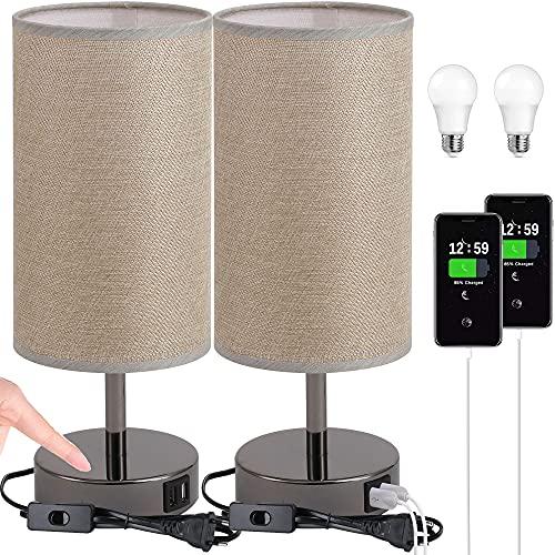 2 Piezas Lámpara de noche con puerto USB - Lámpara de mesa de control táctil para dormitorio Lámpara de mesita de noche con pantalla redonda de tela de lino para sala de estar, oficina