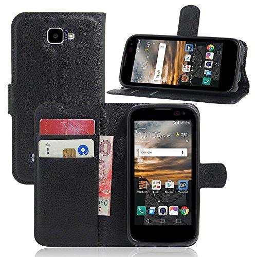 Tasche für LG K3 3G Hülle, Ycloud PU Ledertasche Flip Cover Wallet Hülle Handyhülle mit Stand Function Credit Card Slots Bookstyle Purse Design schwarz