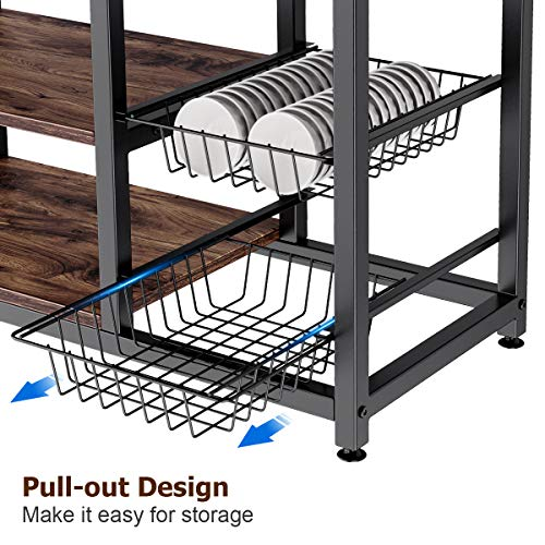 Homemaxs Kitchen Baker's Rack, 4 Tier+ 4 Tier Microwave Storage Stand with 2 Slide-Out Mesh Baskets, Vintage Utility Shelf for Spices, Pots, and Pans Organizer Workstation - Rustic Brown