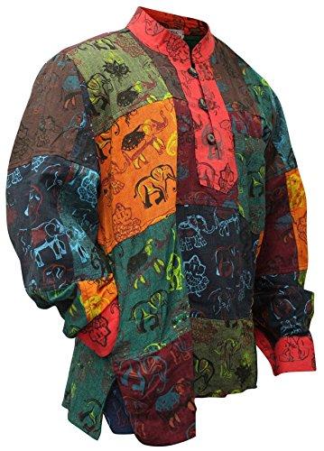 Shopoholic Fashion, Herren-Hemd, farbenfroh, sommerlich, Hippie-Hemd, Großvater-Hemd Gr. 56, multi