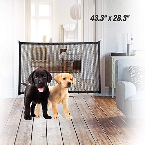 EasySMX Dog Gates for Doorways Dog Gates Folding Pet Gates for Dogs 433#039#039x283#039#039 Dog Gate for Stairs Dog Fence for Stairs Upgrade Sticky Outdoor Indoor Use