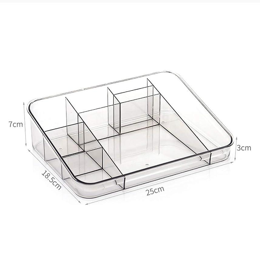 従事した愛人合唱団シンプルなホーム化粧品収納ボックスプラスチックデスクトップパーティション口紅スキンケア製品化粧ブラシ仕上げボックス(色:グレー、サイズ:14 * 14 * 6.5 cm)