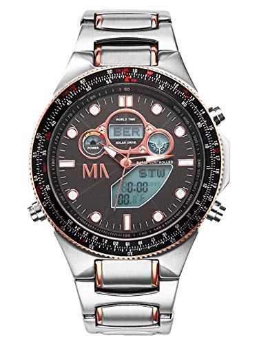 Meister Anker Worldtimer-Funk-Solar-Uhr Chronograph Silberfarben