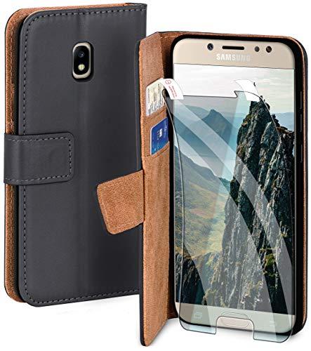 moex Handyhülle für Samsung Galaxy J5 (2017) - Hülle mit Kartenfach, Geldfach und Ständer, Klapphülle, PU Leder Book Case und Schutzfolie - Dunkelgrau