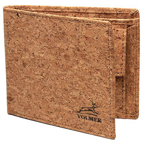 Fa.Volmer® Schlanke Echtleder-Geldbörse besonders bequem einfach und extra stabil #Easycomfort (Kork)
