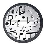 Notas musicales en línea, perillas de cristal para gabinete, cajón, cofre, cesta, aparador, armario, paquete de 4